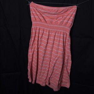 Orange Striped Strapless Dress